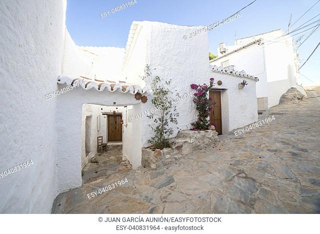 Comares, white village up on the hill of Malaga mountains, Andalusia, Spain. Townhouses