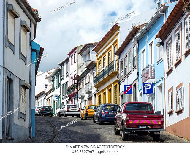 Streets of the old town with the famous facades. Capital Angra do Heroismo, the historic center is part of UNESCO world heritage