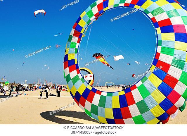 Italy, Emilia Romagna, Rimini, International Kite Festival, Kites Flying