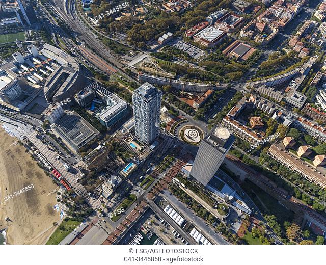 Aerial view of the area of Vila Olimpica and Port Olimpic. Barcelona, Spain