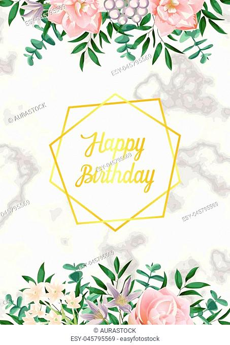 Luxury Card with gold frame, pink flowers, greenery. Spring Happy Birthday composition on white marble backdrop. Floral template wiht text place for holiday...