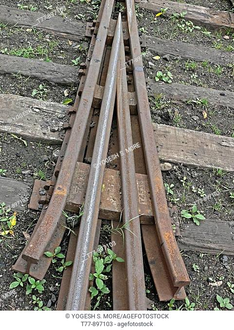 Meter gauge Railway track points detail  Mhow, Madhyapradesh, India