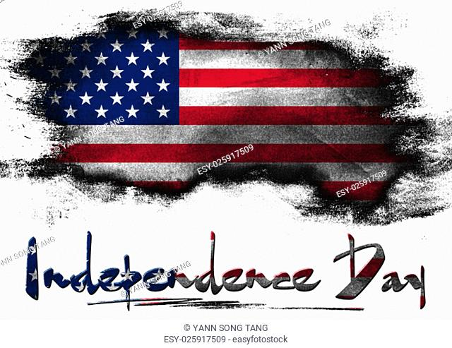 Flag of United States painted with brush on solid background, USA Independence day