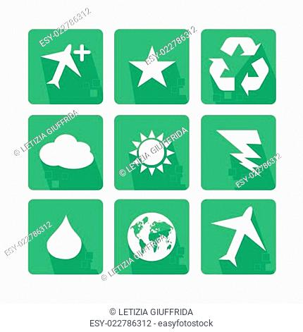 Main icons Set of nature, with shadow and pixel - Green