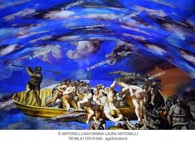 Giudizio Universale The Sistine Chapel Immersive Show, about the life of Michelangelo, in Auditorium Conliazione, Rome, Italy 10-05-2019
