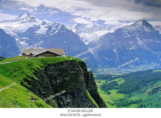Grindelwald and North face of the Eiger mountain, Grindelwald, Jungfrau region, Bernese Oberland, Swiss Alps, Switzerland, Europe