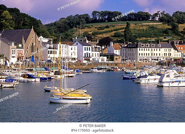 View of the picturesque town and harbour near St Helier on the island of Jersey