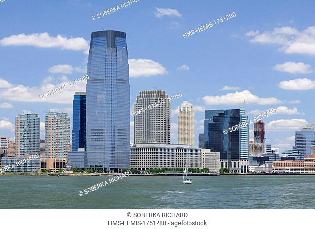 United States, New Jersey, Jersey City, Exchange Place, buildings viewed from the river
