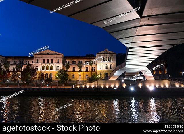 Deusto University and Zubizuri bridge , Bilbao, Bizkaia, Basque Country, Spain, Europe