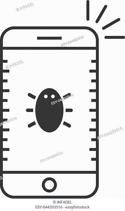 black thin line phone with bug. concept of ui, phishing, ddos, scam, spy, dos, spam, worm, guard, infection, privacy. flat linear style trend modern logo design...