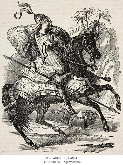 Saladin (1137-1193) on horseback, illustration from Teatro universale, Raccolta enciclopedica e scenografica, No 554, February 22, 1845