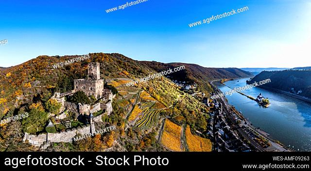 Germany, Rhineland-Palatinate, Kaub, Helicopter view of Gutenfels Castle overlooking town below