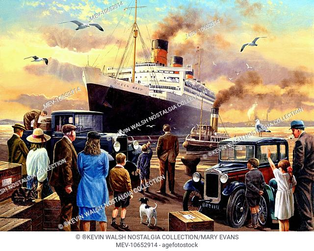 Send Off For The Queen (Queen Mary cruise liner), with people and an Austin Seven car on the quayside