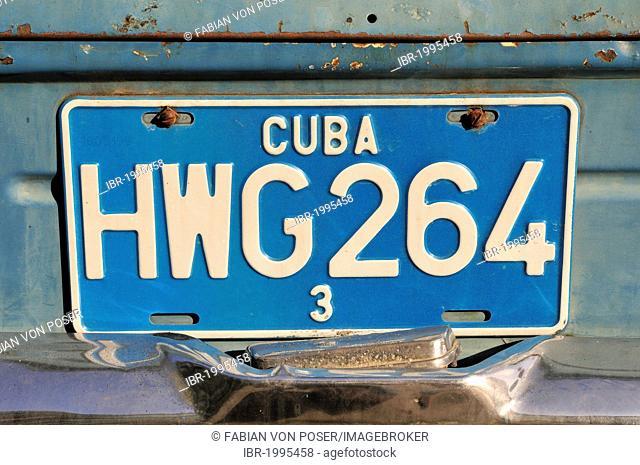 Number plate on a vintage car, old town Habana Vieja, Havana, Cuba, Caribbean