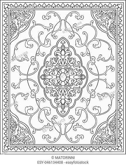 Oriental abstract ornament. Template for carpet, shawl, textile, bedcover and any surface. Ornamental vector pattern with filigree details