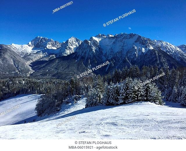 Skiing area of Ski paradise Kranzberg at Mittenwald, slope at the Wildsee lift