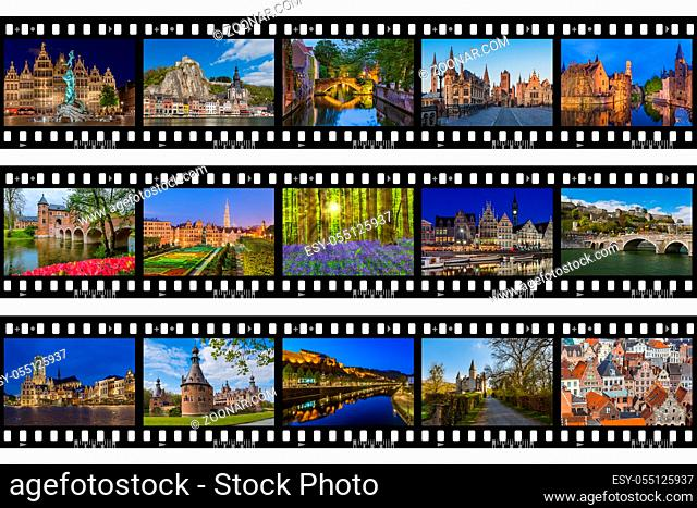 Frames of film - Belgium travel images (my photos) - nature and architecture background