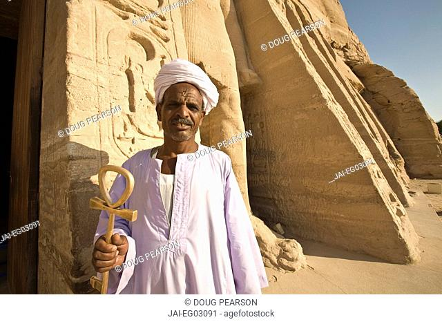Man holding Ankh, Temple of Hathor, Abu Simbel, Aswan, Egypt