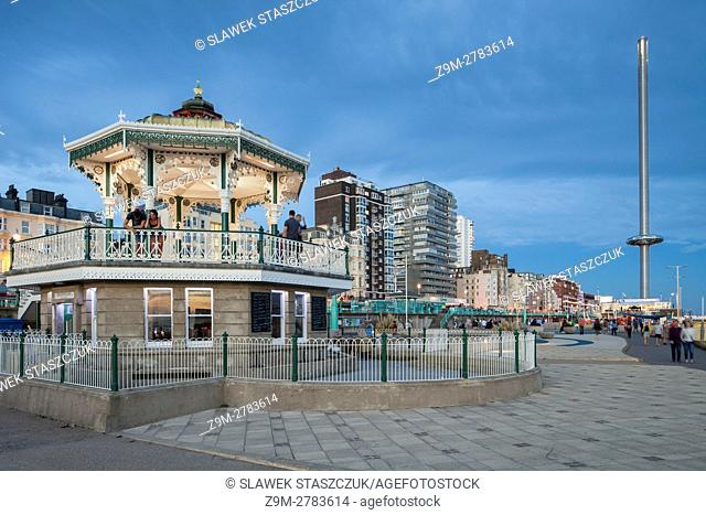 Night falls at Brighton Bandstand, Brighton and Hove, East Sussex, England