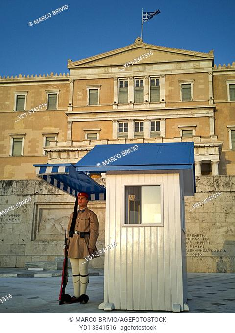 Athens Greece. Changing of the guard in Syntagma square in front of the Hellenic Parliament