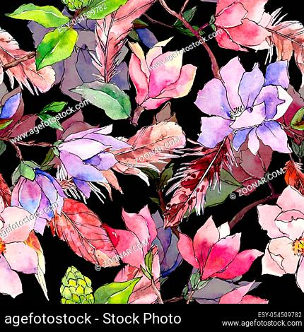 Wildflower magnolia flower pattern in a watercolor style. Full name of the plant: magnolia. Aquarelle wild flower for background, texture, wrapper pattern
