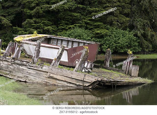 Old boat in a temperate rainforest on the Brothers Islands between Stephens Passage and Frederick Sound. Alexander Archipelago, Southeast Alaska