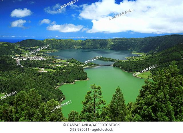 Sete Cidades crater and the twin lakes  Sao Miguel island, Azores islands, Portugal