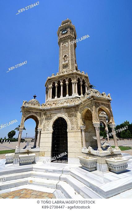 Izmir Clock Tower (Izmir Saat Kulesi) by Levantine French architect Raymond Charles P�re. Izmir. Turkey