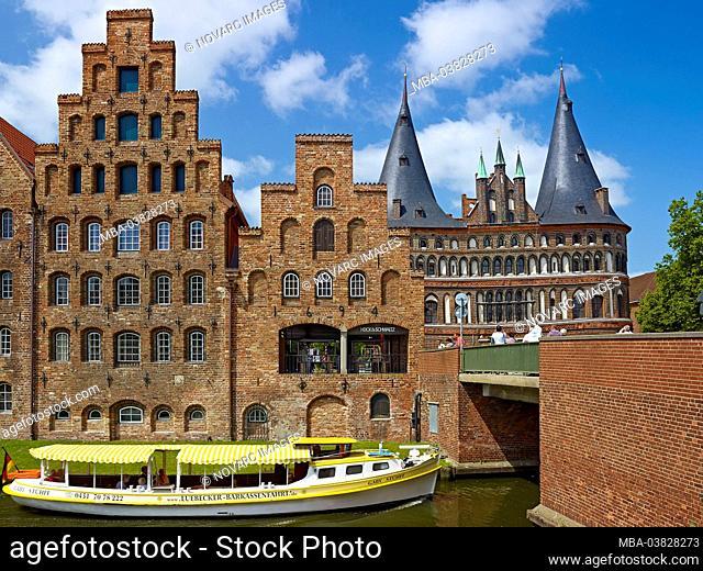 Salt storage and Holsten Gate, Hanseatic City of Lbeck, Schleswig-Holstein, Germany