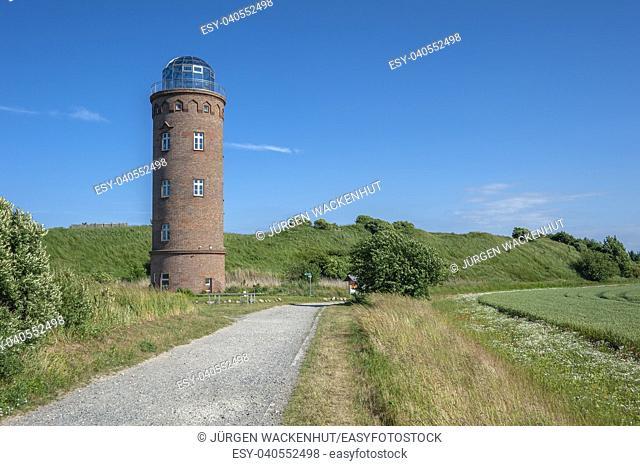 Former Marinepeilturm tower and slavic castle rampart at Cape Arkona, Putgarten, Rügen, Germany, Europe