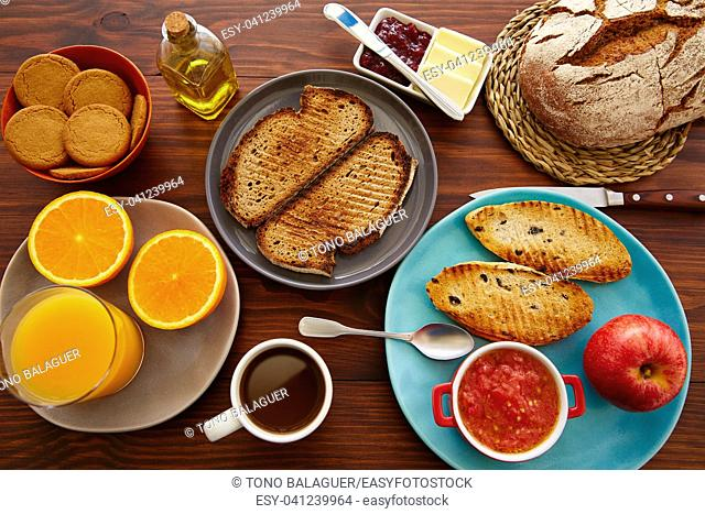 Continental buffet breakfast with assorted healthy food and coffee