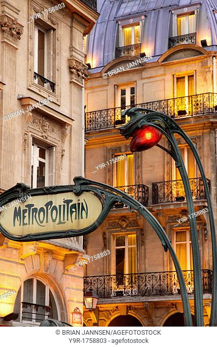 Evening at the Metro stop Saint Michel in the Latin Quarter, Paris France
