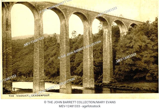Leaderfoot Railway Viaduct, also known as Drygrange Viaduct, over the River Tweed near Melrose in the Scottish Borders