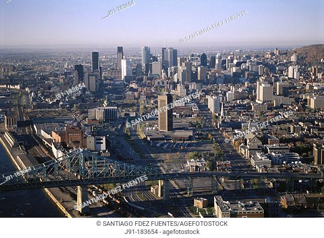 Downtown Montreal from the air. Bridge Jacques Cartier. Quebec province. Canada