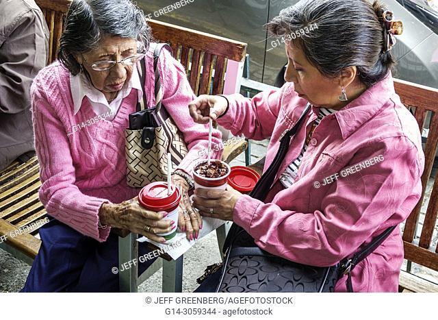 Mexico, Mexico City, Ciudad de, Federal District, Distrito, DF, D.F., CDMX, Mexican, Hispanic, Coyoacan, Cafe El Jarocho, coffeehouse, woman, senior, iced tea