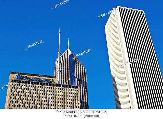 Street scene. Top of Prudential building and Standard Oil building. Chicago. Illinois, USA