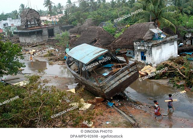 Damage , Natural Disaster Tsunami Earthquake on Sea Floor , Nagapattinum , Velankanni , Tamil Nadu , Indian Ocean , India - 27 December 2004