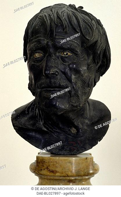 Head known as Pseudo-Seneca, from Herculaneum, Campania, Italy. Roman civilisation, 1st century AD.  Naples, Museo Archeologico Nazionale (Archaeological...
