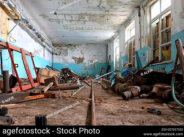 The interior of an old abandoned building of the Soviet meteorological station in the Tian Shan mountains, Kazakhstan