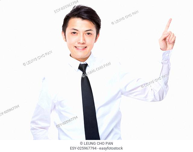 Businessman with finger showing up