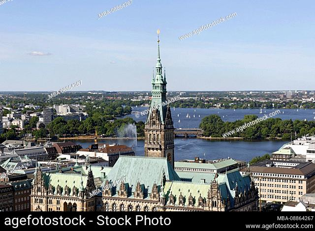 City Hall with Outer Alster, Hamburg, Germany