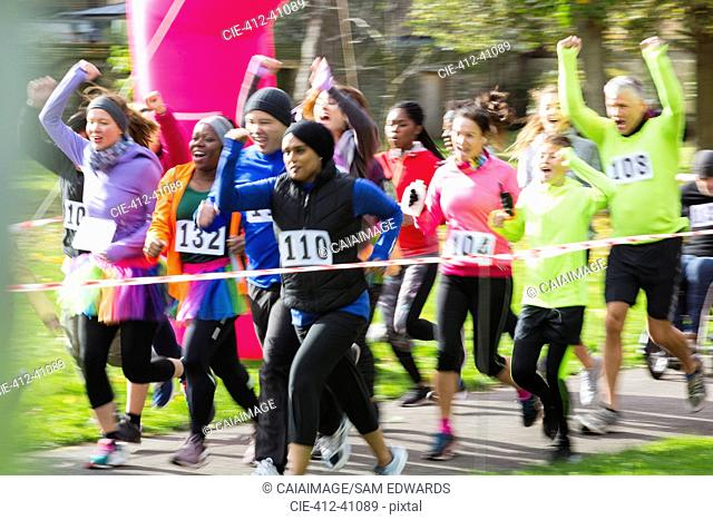 Enthusiastic runners cheering and running at charity run in park