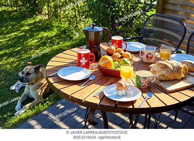 Breakfast on the terrace, Urain Apartments, Basque farmhouse, Deba, Gipuzkoa, Basque Country, Spain, Europe