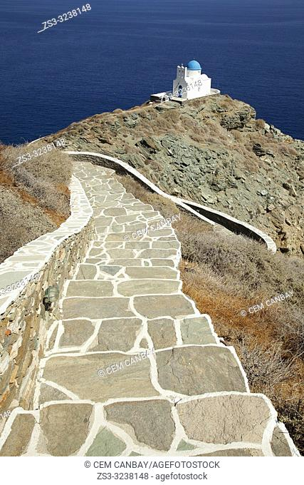 Path leading to the Seven Martyrs chapel in Kastro, Sifnos, Cyclades Islands, Greek Islands, Greece, Europe