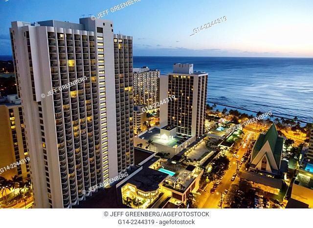 Hawaii, Hawaiian, Honolulu, Waikiki Beach, Pacific Ocean, high rise buildings, hotels, condominium, dusk, night, city skyline, Marriott Resort & and Spa