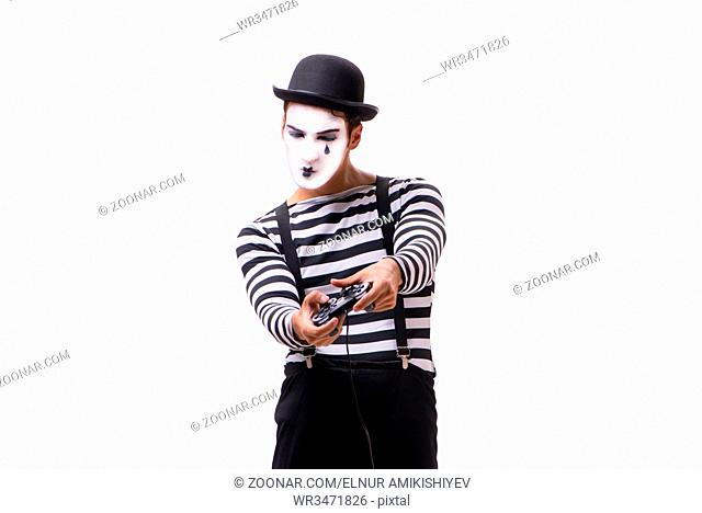 Mime with joystick isolated on white background