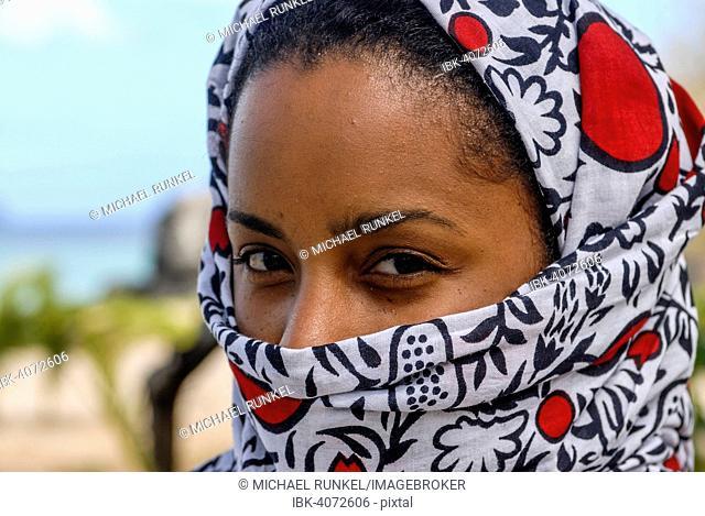 Veiled young woman, portrait, Moheli, Comoros