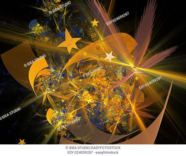 Computer rendered 3d abstract fractal illustration background for creative design