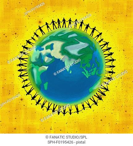 Illustration of people on globe