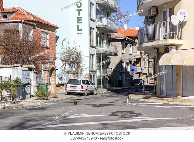 Pomorie, Bulgaria - Februari 01, 2019: View from the town of Pomorie, Bulgaria